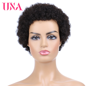 Image 5 - UNA קצר שיער טבעי פאות ללא רמי שיער טבעי פאות 120% צפיפות פרואני תלתל שיער טבעי האפרו פאות עבור מלא מכונת עשתה פאות