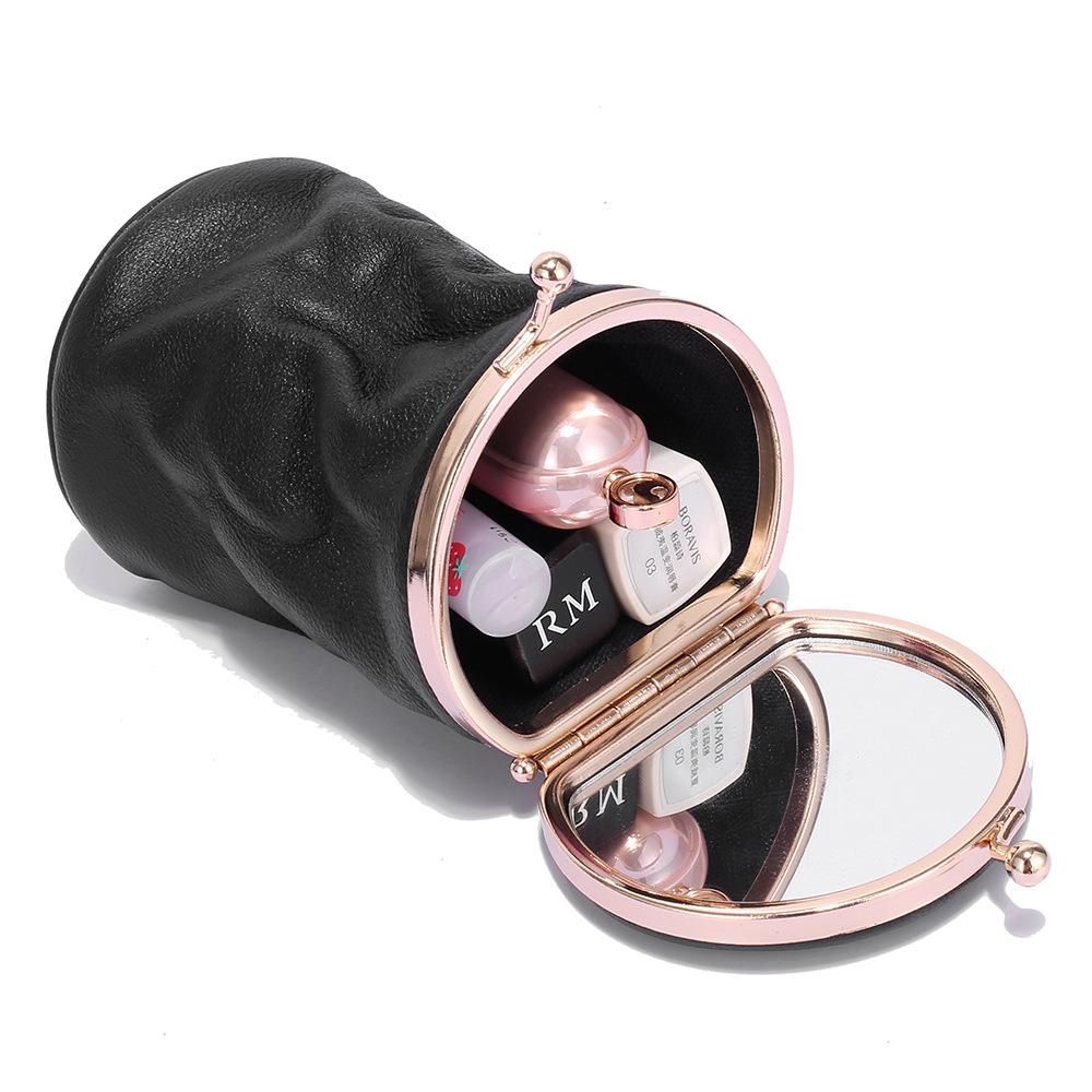 NEW Personality Cosmetic Bag Small Portable Retro Cute Leather Mini Perfume Storage Portable Makeup Bag Lipstick Bag With Mirror