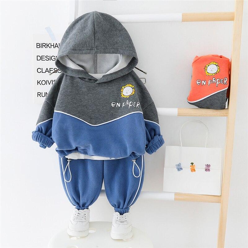 HYLKIDHUOSE 2020 Girls Boys Clothing Sets Casual Hooded Cartoon T Shirt Pants Toddler Infant Vacation Costume Baby Clothing Sets