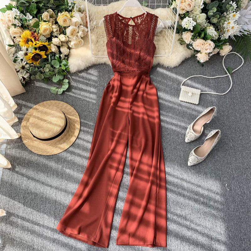 Elegant High Waist Hip Wide Leg Patchwork Lace Hollow Out Sleeveless Jumpsuit 3