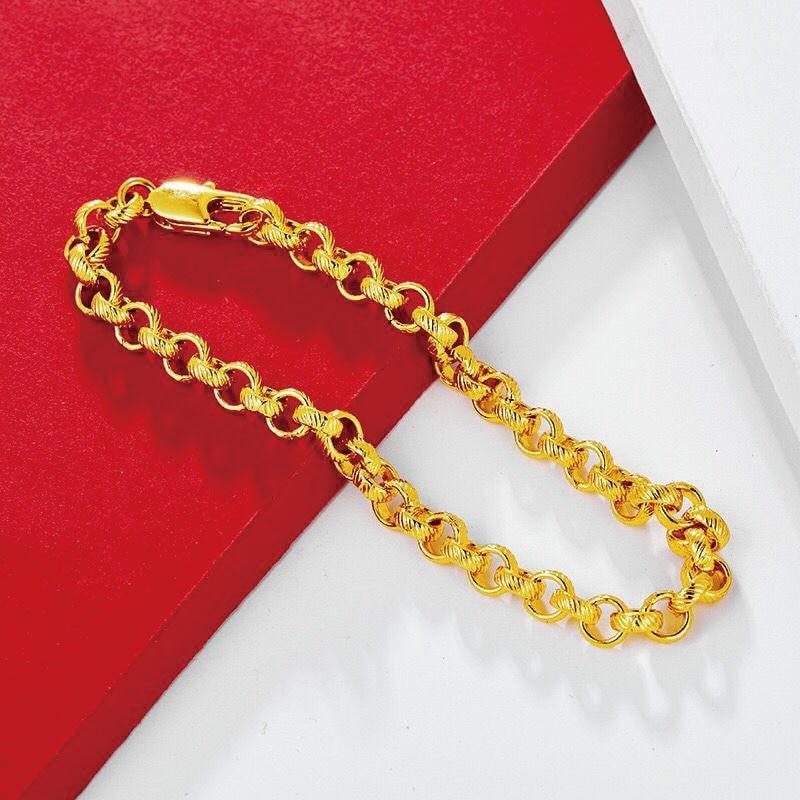 Браслеты-цепочки XP Jewelry- (23 см х 5,8 мм) круглой формы для мужчин и женщин, модные ювелирные украшения из желтого золота 24 k