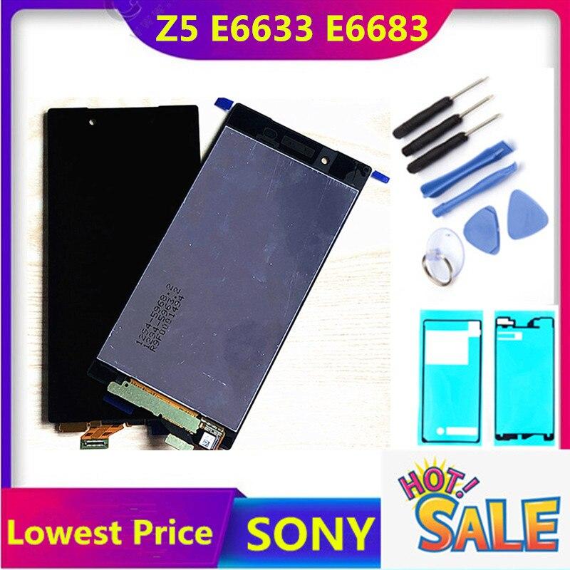 100% orijinal ekran SONY Xperia Z5 LCD dokunmatik ekran SONY Xperia Z5 ekran Digitizer meclisi E6653 E6603 E6633 LCD