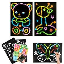 10/15 sztuk DIY kolorowa kropka podstawowego mozaika Puzzle naklejki gry DIY kreskówka zwierząt nauka zabawki edukacyjne dla dzieci prezent dla dzieci