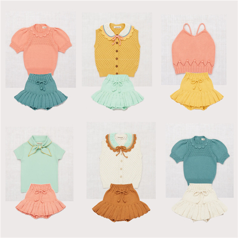 Misha Puff Kids Girls Summer Knit T Shirt Brand Toddler Girl Beautiful Tops Vintage Child Girl Kniting Tee Shirts Mish And Puff