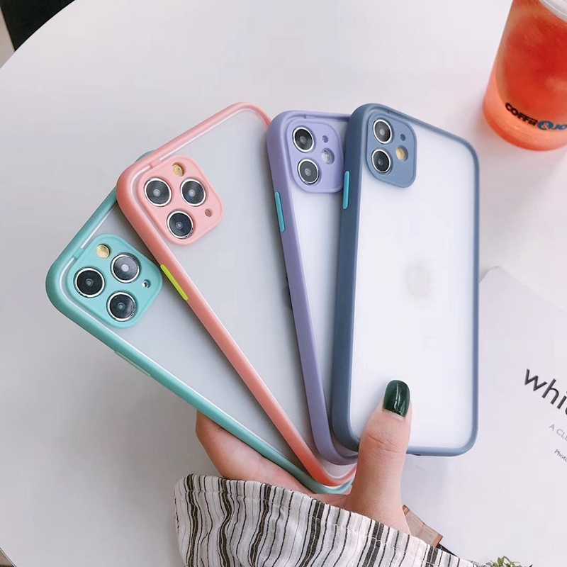 Icassby Warna Solid Matte Phone Case untuk iPhone 11 Pro X XR X Max 6 6S 7 7 Plus se 2020 Silikon Shockproof Hard Pc Back Cover