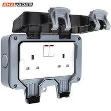 Электрическая настенная розетка, водонепроницаемая наружная штормовая переключатель 13 а, 2 комплекта, Великобритания IP66, внешнее использование, Masterplug, двойные розетки
