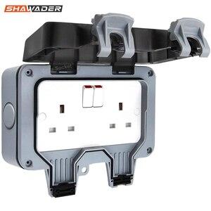 Image 1 - Presa a muro elettrica impermeabile esterno 13Amp Storm commutato 2 Gang UK IP66 uso esterno prese doppie Masterplug