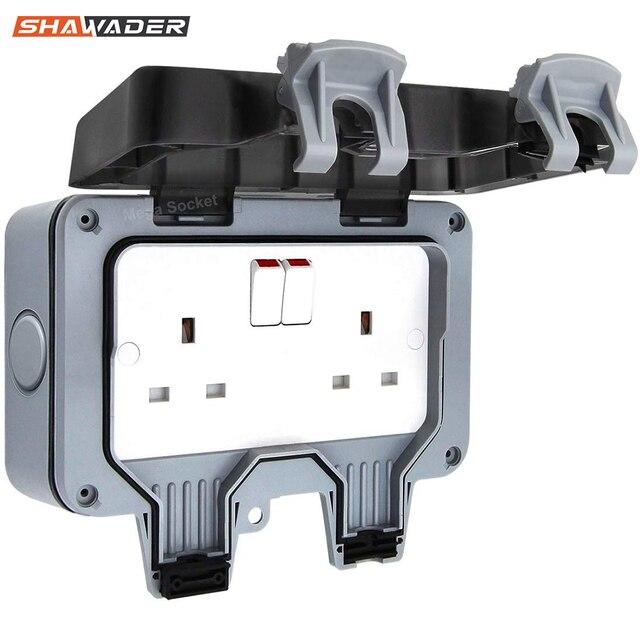 Presa a muro elettrica impermeabile esterno 13Amp Storm commutato 2 Gang UK IP66 uso esterno prese doppie Masterplug