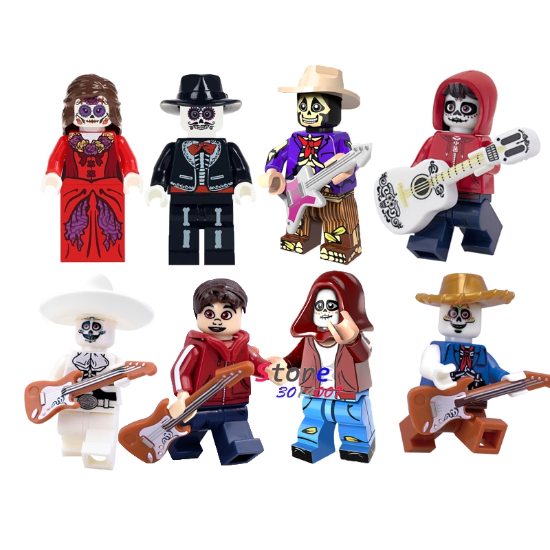 Single Super Hero Miguel Hector Rivera Movie Coco Day Of The Dead Holiday Skeleton Skull Building Block Toys For Children