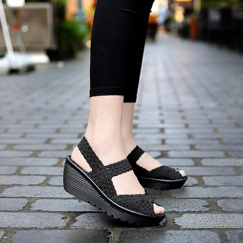 Düz nefes koşu ayakkabıları dokuma kadın spor ayakkabı el yapımı kadın gizli topuklu spor ayakkabı yürüyüş ayakkabısı yumuşak loafer'lar V13