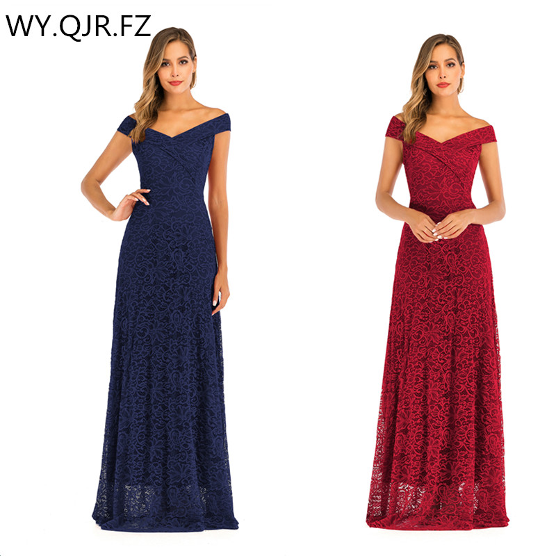 OML-566#Bridesmaid Dresses Long Lace Burgundy Navy Off Shoulder Wedding Party Prom Host Cheap Wholesale Valentine's Day Dress