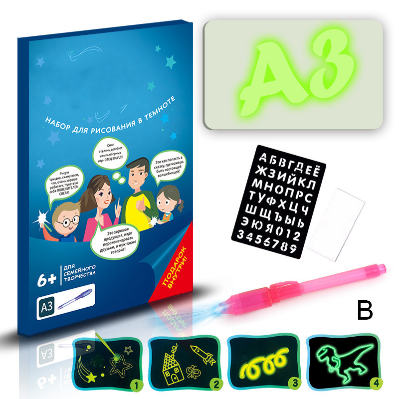LED Light Up Drawing Kit Developing Toy Portable Draw Sketchpad Board for Kids UY8