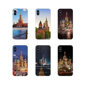 Para Samsung Galaxy A3 A5 A7 A9 A8 Star A6 Plus 2018 2015 2016 2017 Rusia cuadrado rojo Moscú dibujo suave funda transparente