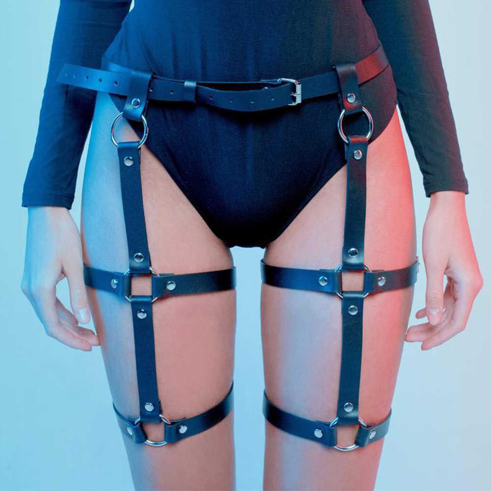 Thắt Lưng Nữ Dự Trữ Cho Garters Nữ Giả Dây Nịt Da Chân Lồng Cơ Thể Mối Ràng Buộc Điều Chỉnh Bông Tai Kẹp Dây Rút Tạo Dây Punk