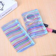 Case Pencils-Bags Stationery School-Supplies Large-Capacity Pen-Box Cute 1pcs Lines Random