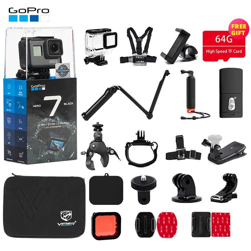 Câmera Ação GoPro HERO7 Preto + Kit de Acessórios Pacote de Esportes para o Herói 7 Preto