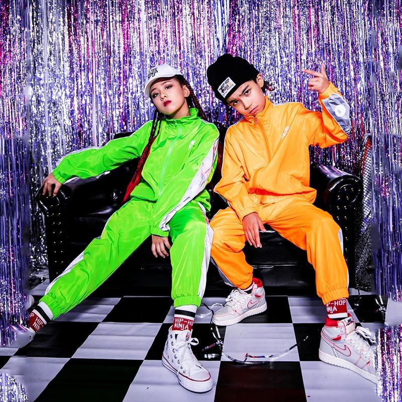 Children'S Hip Hop Dance Costumes For Kids Boys Loose Fluorescent Suit Girls Jazz Dancewear Ballroom Performance Clothes DQS3683