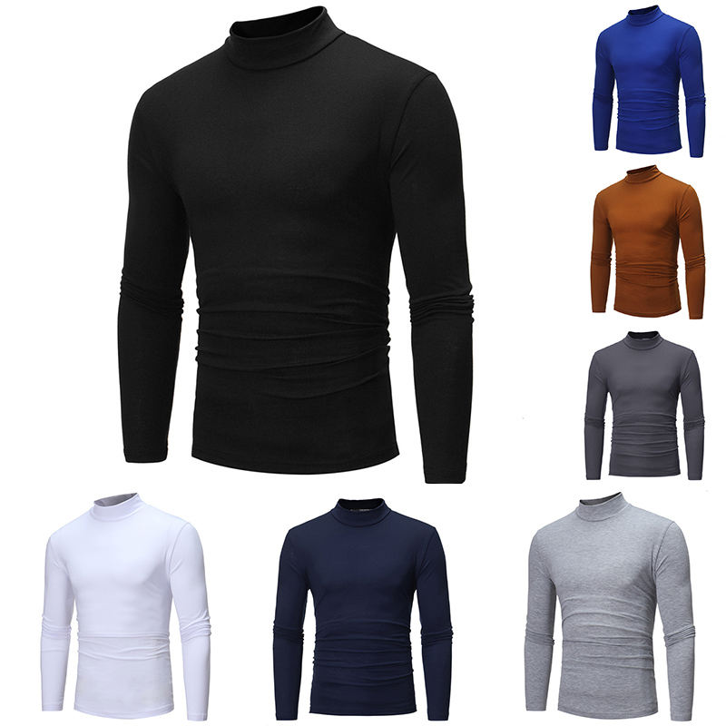 Autumn Winter Mens Thin Thermal T-shirt Men's Half-collar Bottoming Slim Warm Cotton High-necked Long-sleeved T-shirt