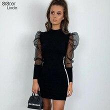 Sisterlinda Solid See-through Mesh Bodycon Dress Women Slim Office Ladies Elegan