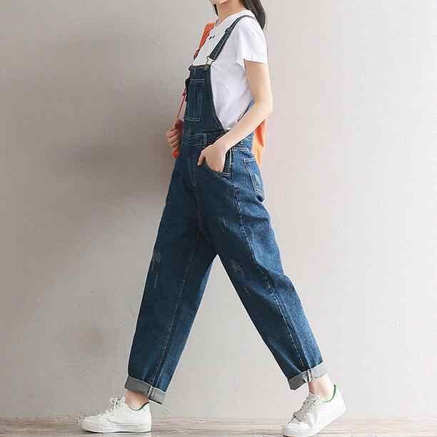 Kombinezon damski denimowe fartuchy damskie 2020 nowy dorywczo luźny pasek porwane jeansy Plus Size damskie spodnie kombinezony WF189