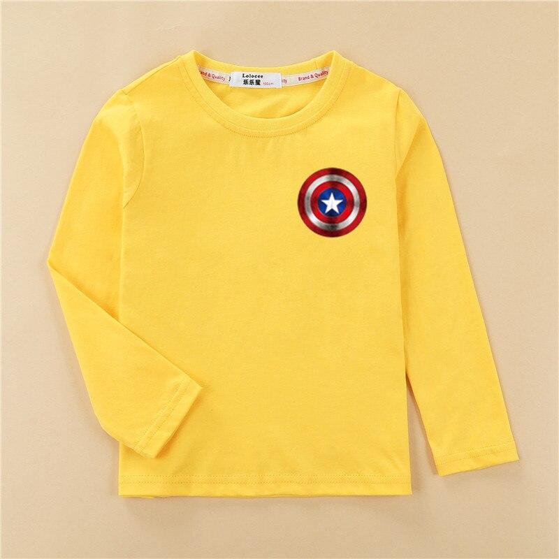 Shield Children T-shirt Long Sleeve Cotton Boy Tops Cartoon Print Design Tees Kids Casual Spring Clothes Boys Captain Shirts 3