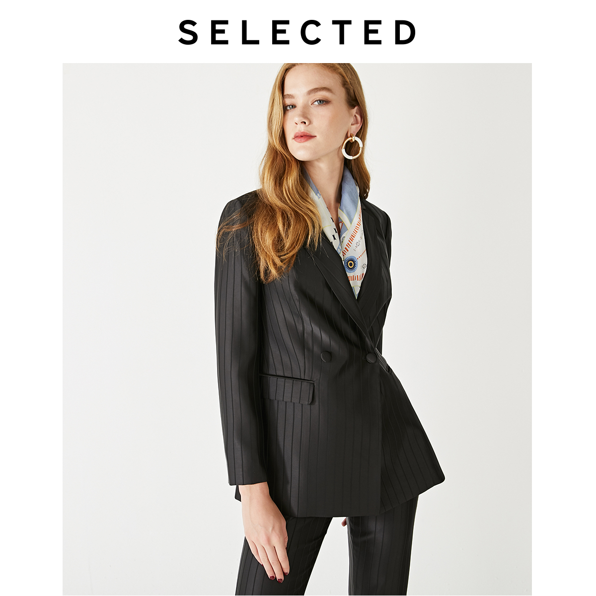 SELECTED Women's Double-breasted Striped Straight Fit Blazer S|419372512