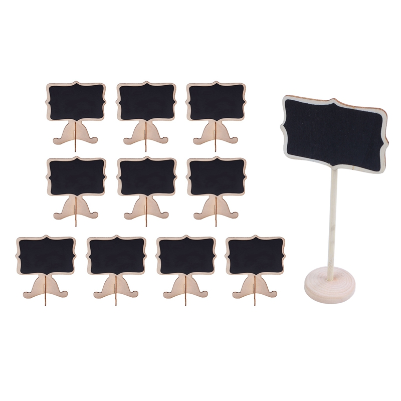 19 Pcs Mini Wooden Small Wedding Blackboard Message Table Number Chalkboard, 10 Pcs 8.3X9X6Cm & 9 Pcs 18X6Cm