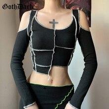 Goth Dark Patchwork Gothic T-shirts E-girl Hollow Out Sleeve Punk Style Autumn Crop Tee Slim Fashion Streetwear Autumn Women Top