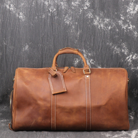 Crazy Horse Leather Tote Duffle Bag Mens Leather Travel Bag With Shoes Compartment Large Overnight Bag