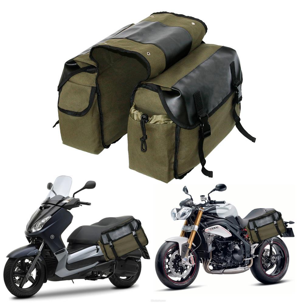 Bolsa de sillín de moto, bolsa de lona impermeable para herramientas laterales de moto, nueva actualización 2020