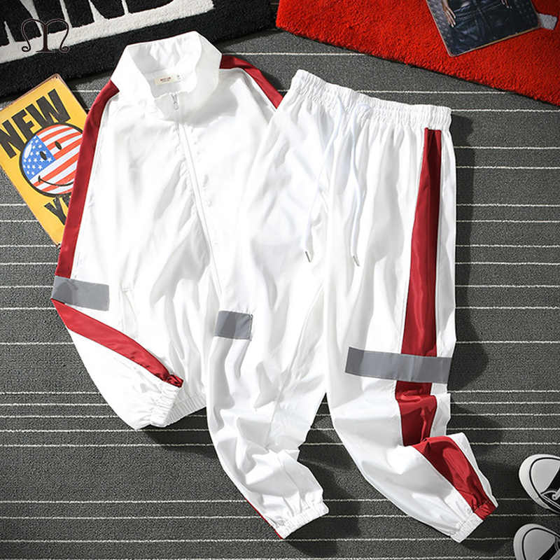 Mannen Sportkleding Set Lente Herfst Hoodies Set Heren Trainingspak Patchwork Hip Hop Sweatshirt + Broek Man Casual Twee Stuks Track pak