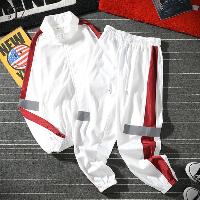 גברים ספורט סט אביב סתיו נים סט Mens אימונית טלאים היפ הופ סווטשירט + מכנסיים זכר מקרית שתי חתיכות מסלול חליפה