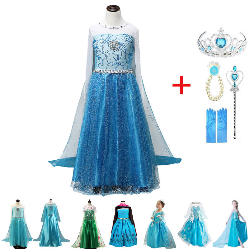Elsa Girls Dress Princess Dresses Elza Teenagers Kids Dresses for Girls Children Clothing Anna Elsa Party Snow Queen Cosplay 2