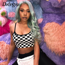 Darlingaga Streetwear Checkerboard Crop Top Women Bodycon Strap Cami Festival Checkered Sexy Tops Backless Plaid Top Cropped New(China)