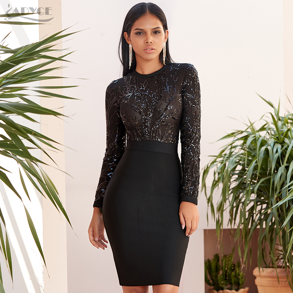 Adyce 2020 New Spring Sequin Black Bodycon Bandage Dress Sexy Hollow Out Long Sleeve Club Celebrity Evening Party Dress Vestidos