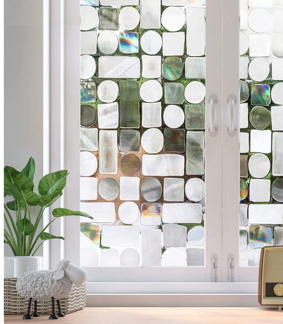Privacy Window Film No-Glue Self Adhesive 3D Static Decorative Glass Cling Stickers for Home Kitchen Office Anti-UV 1