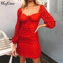 Hugcitar 2019 long lantern sleeve lace patchwork bandage V-neck sexy dress autumn winter women party elegant outfits streetwear цена и фото