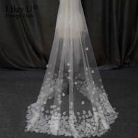 High End Ivory Beaded Chapel Wedding Veil with Flowers Beautiful Petal Bridal Veil Metal Comb Bride Veil Wedding Accessories