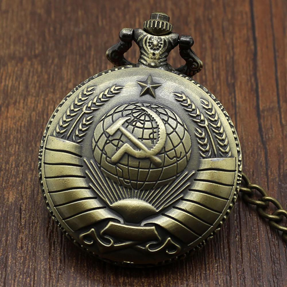 Vintage USSR Soviet Badges Sickle Hammer Pocket Watch Necklace Bronze Pendant Chain Clock Fashion Emblem Women Men Gift