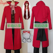2020 noir majordome mort Shinigami Grell Sutcliff Cosplay rouge uniforme tenue lunettes Carnaval Halloween Costumes hommes et perruque(China)