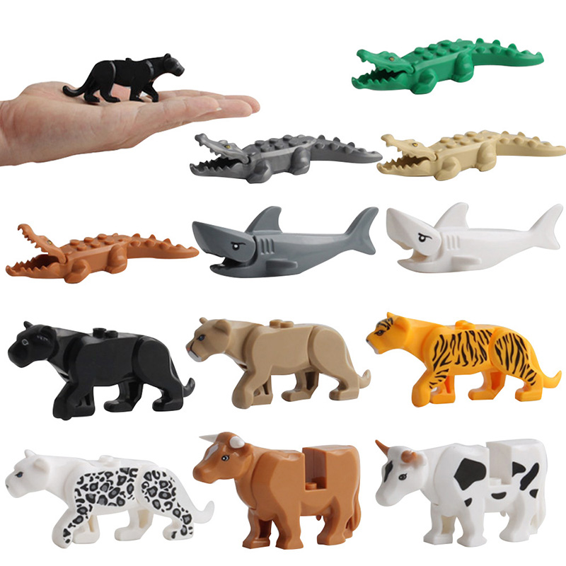 Mini Building Blocks Crocodile Tiger Sharks Multi-Purpose Assembly Toy Animal Building Blocks Educational Toys For Children