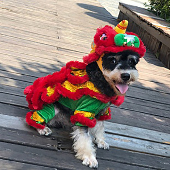 Hot Selling New Style Pet Clothes Online Celebrity Celebrity Style Dog Small And Medium Funny Photo Shoot Lion Dance Clothing