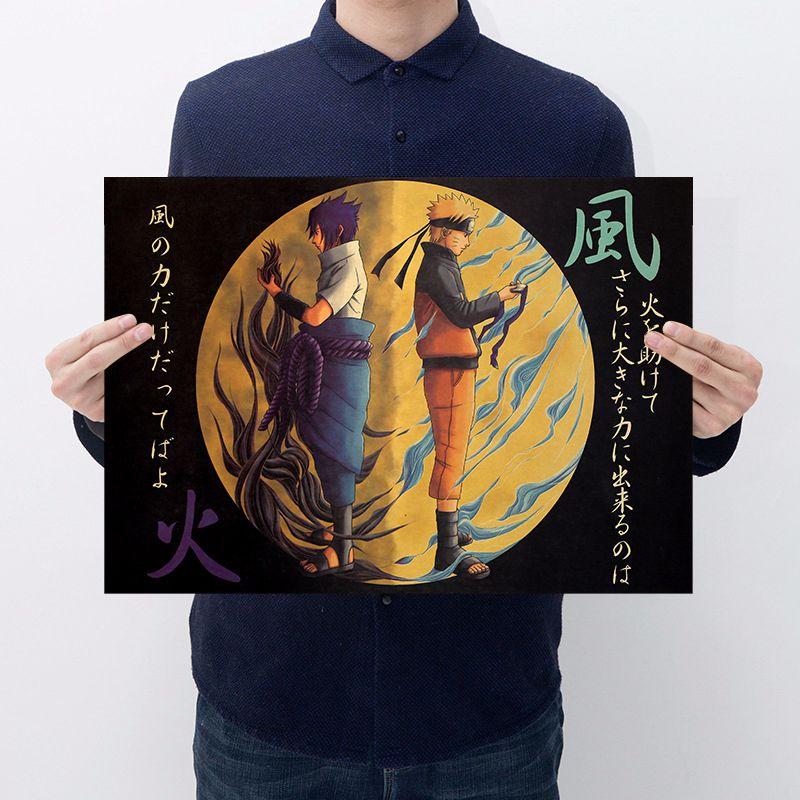 Japen Anime Naruto Action Figure Vintage Stickers Sasuki Kakashi Bar Bedroom Decorative Poster Stickers Collection For Kid