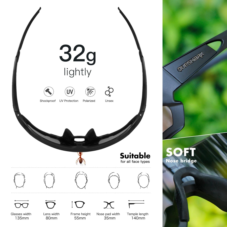 QUESHARK 4 Lens Cycling Glasses Bicycle Goggles for Men Women Polarized Cycling Eyewear UV400 Road MTB Bike Sunglasses QE44 2