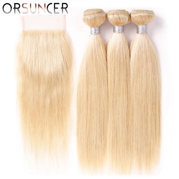 цена на ORSUNCER 613 Blonde Bundles With Closure Brazilian Straight Hair Non-Remy Human Hair Extensions Medium Ratio DHL Free Shipping
