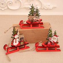 Pingente de madeira trenó árvore de natal ornamentos festival fontes de festa decoração clipe para casa decoração de madeira