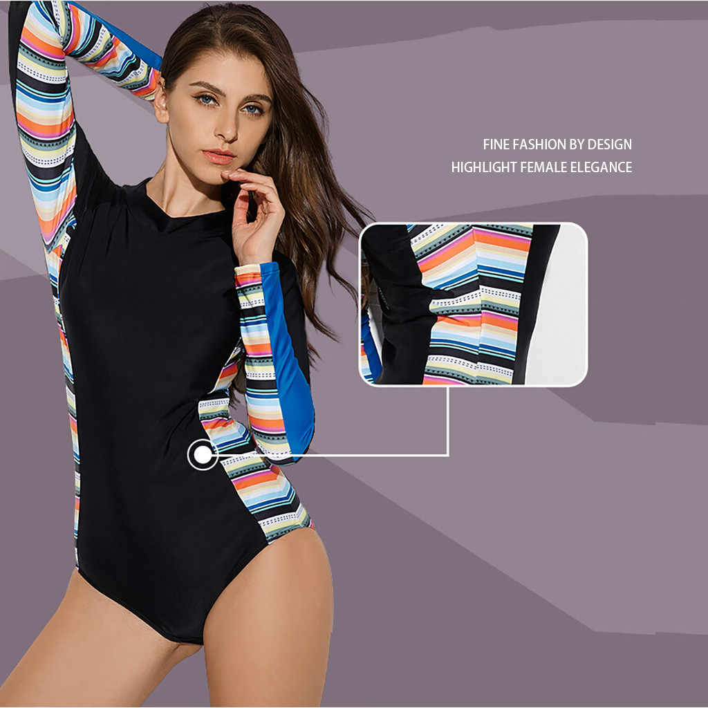 Kustom Dicetak Surf Sesuai Fitness Lengan Panjang Ruam Pengaman Lengan Panjang Zip UV Perlindungan Surfing Baju Renang Pakaian Renang Baju Renang