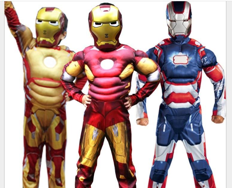 Mark 42/patriot músculo crianças crianças traje de halloween homem cosplay traje com máscara fantasia av supo i454n anime