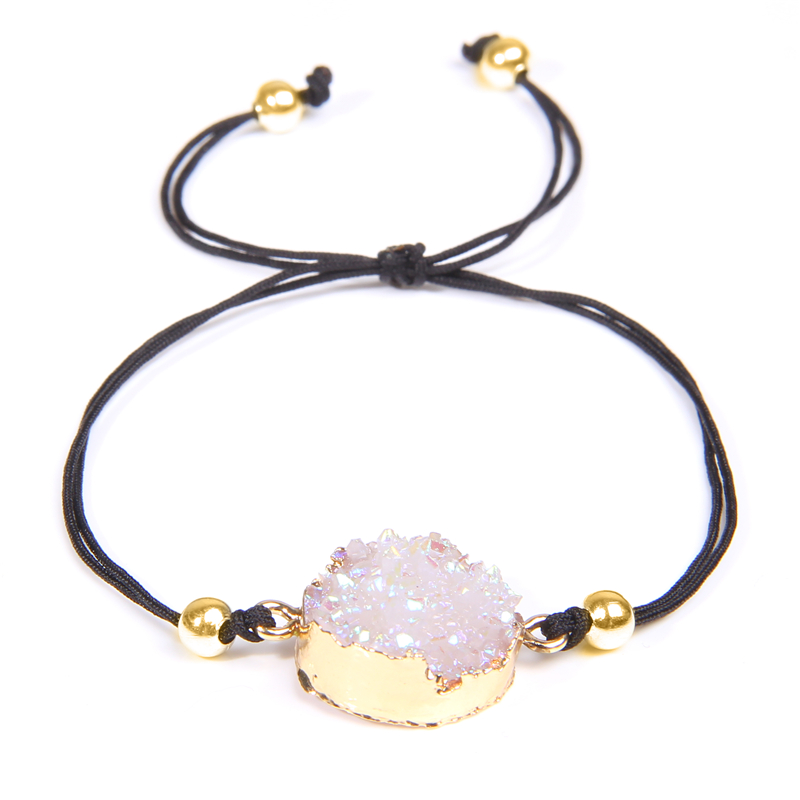Natural stone agates druzy charm bracelet women pink crystal quartz bracelet gold chain Black rope bracelets female wholesale in Chain Link Bracelets from Jewelry Accessories