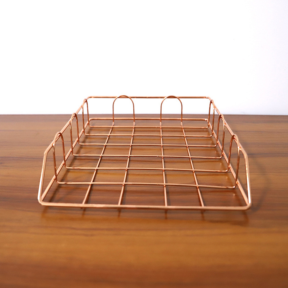 Office A4 Paper Organizer Document File Letter Book Manual Fill Tray Rack Stackable Multilayer Wire Mesh Storage Rack